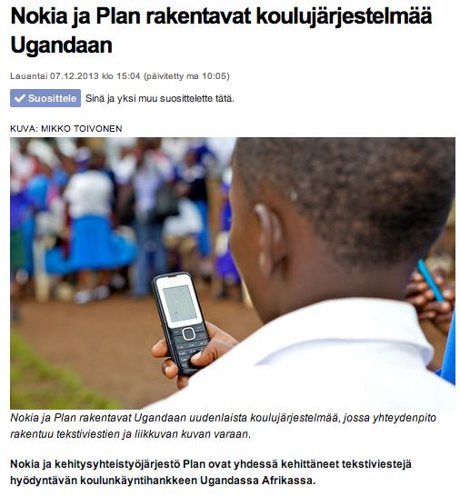 Kauppalehti: Nokia ja Plan rakentavat koulujärjestelmää Ugandaan